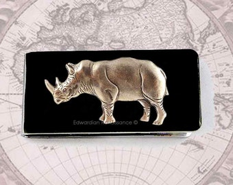 Money Clip Antique Silver Rhino Inlaid in Hand Painted Enamel Safari Neo Victorian Inspired Rhinoceros Custom Colors and Personalized Option
