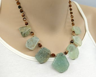 Her bib necklace, prehnite, gift for mom, Mothers day gift
