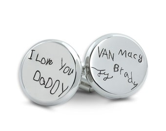 Custom handwriting cuff links - Stainless Steel Handwriting Cuff Links - Memorial Handwriting Engraving - as seen on The Today Show!