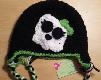 Skull Hat, Skeleton Hat, bow, black with accent color, Monster High, Monster High Hat
