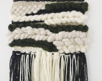 Handwoven Wall Hanging Art Weaving - Dark green, cream and white FREE SHIPPING