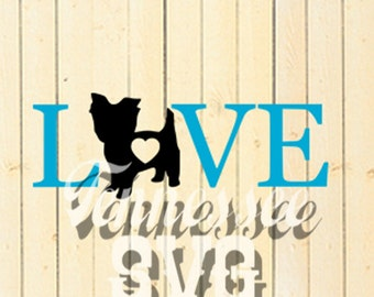 Yorkie, Love Yorkie, Dog, Heart, SVG, PNG, Decal, Stencil