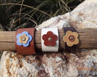 blue flower cuff/flower bracelet/upcycled leather cuff/leather bracelet/brown flower cuff/woman bracelet/girls bracelet/leather jewelry/C213