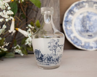 Vintage French Glass carafe, Toile de Jouy pattern, Blue Carafe with stopper, Liquor Carafe Made in France