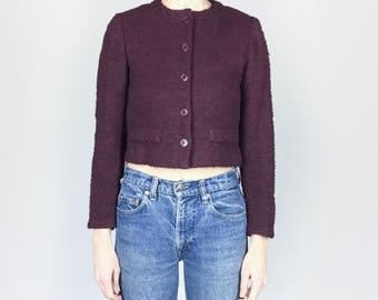 70s Wine Cropped Fitted Boucle Jacket (S)