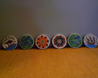 Lot of 6 --NIARCHOS HELLAS Ceramic Coaster Tiles - Hand Made --Made in Greece