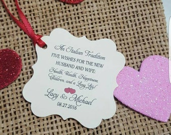 Personalized Favor Tags 2x2'', Wedding tags, Thank You tags, Favor tags, Gift tags, Bridal Shower Favor Tags, jordan almonds, an Italian