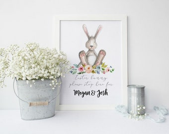 Easter Bunny, Easter Print, Personalised Easter Art, Easter Decorations, Happy Easter, Easter Wall Art, Spring Wall Art, Spring Decor