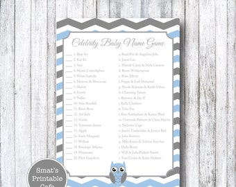 Blue & Gray Chevron Owl Baby Shower Celebrity Baby Name Game Quiz - Printable Baby Shower Games - Grey - Celeb Name Game - Boy's Baby Shower