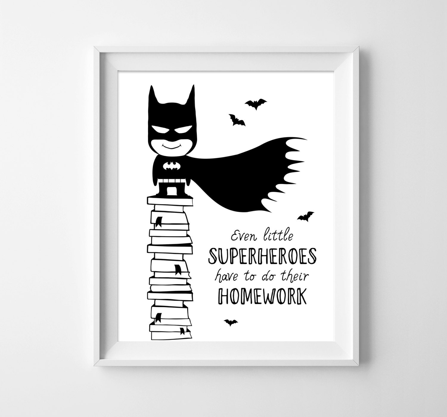 Batman. Kids illustration. Boys decor. Black & white wall art.
