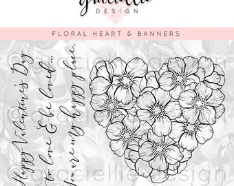Floral Heart & Banners Digital Stamps