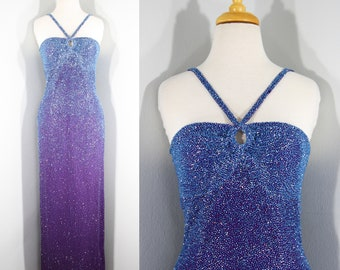 1990s Purple Ombré Beaded Evening Gown by Scala, Small to Medium   90s Vintage Pale Blue Beaded Dress (S, M, 34-26-38)