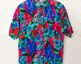 ROSES // Vintage 80s Womens Silk Blouse Size Medium Large Floral Print 1980s Top Baggy Normcore Oversized Colorful Abstract New Wave