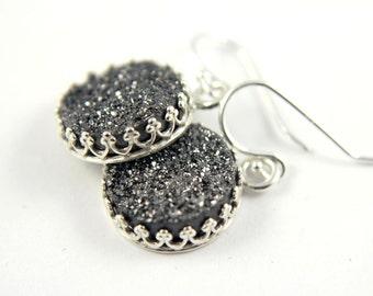 Druzy Earrings - Silver Bezel Sets - Black Drusy Quartz - Round Druzzy Earrings - April Birthstone