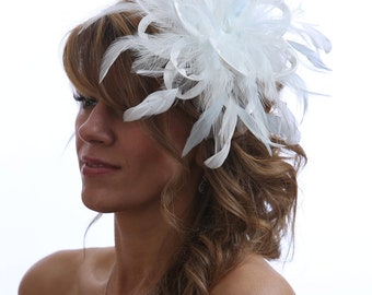 Ivory & Baby Blue Feather Fascinator Hat- Headband or comb  Any colour can be ordered - Wedding,Bridal,Mother of the Bride,Tea Party,Ascot