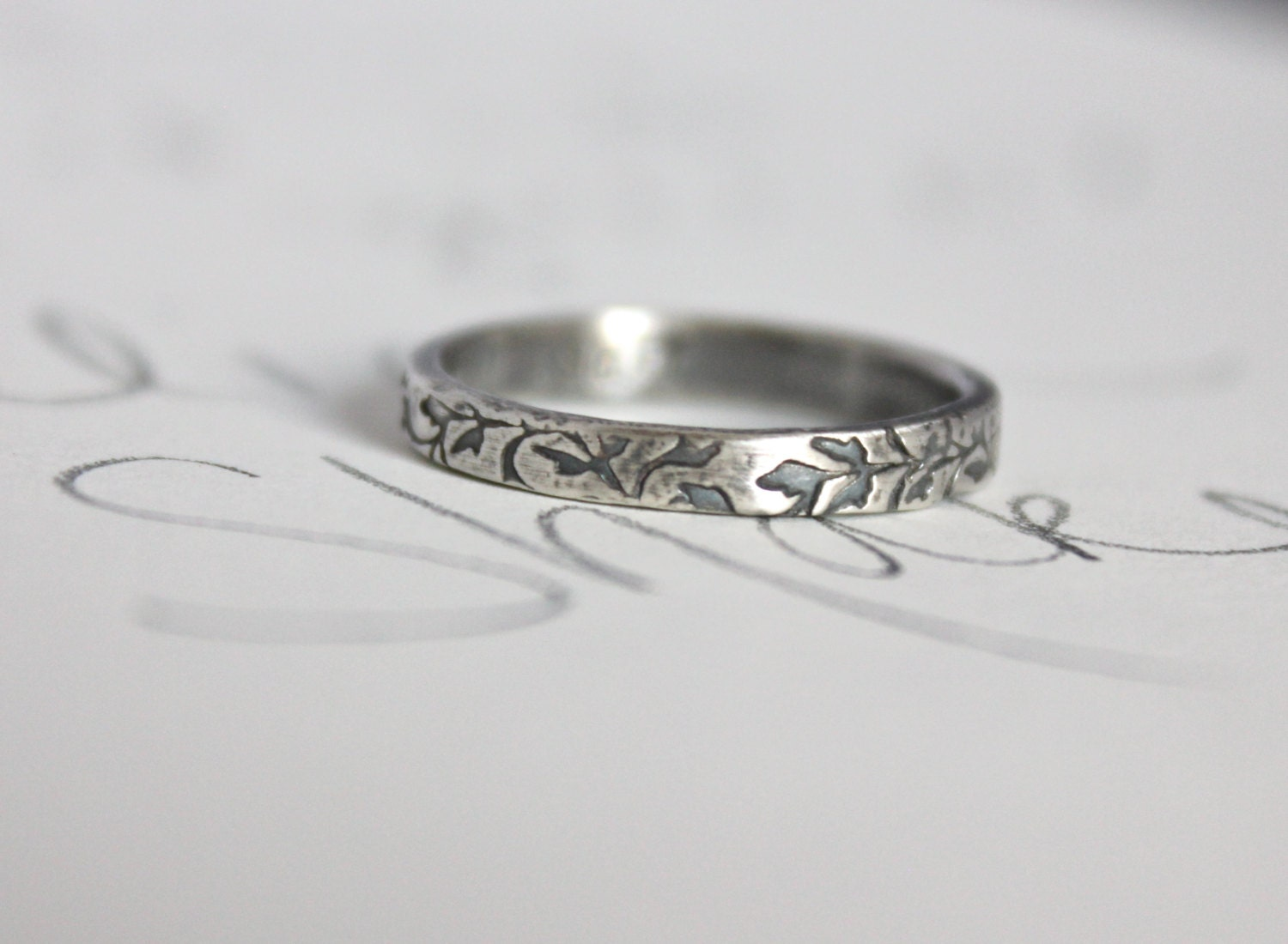 purity ring . true love will wait ring . vine textured silver