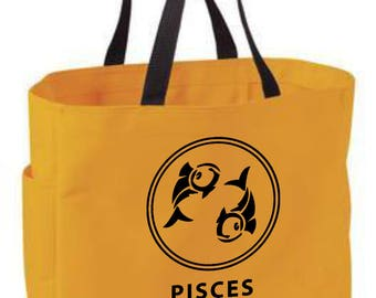 Pisces zodiac tote bag - astrology bag - polyester crafting tote bag - Pisces horoscope/sun sign/zodiac tote bag - Pisces gift