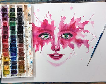 Watercolour Abstract Portrait on A3 300gsm Watercolour Paper
