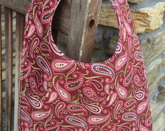 TODDLER or NEWBORN Bib: Burgundy Paisley, Personalization Available