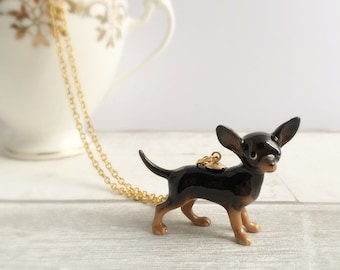 Chihuahua Necklace, Chihuahua gift, Chihuahua Jewellery, black chihuahua, dog necklace, dog lover gift, gifts for her, animal necklace