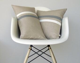 Gray and Cream Striped Pillow Set | (12x20) and (16x16) by JillianReneDecor | Modern Home Decor | Ash Gray | Paloma (READY TO SHIP)