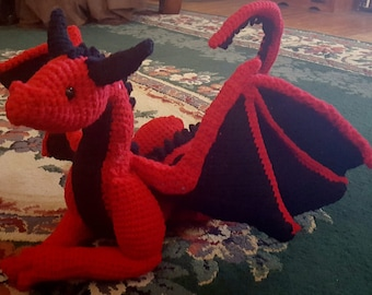 Large Crocheted Dragon with Poseable Head, Wings, and Tail