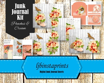 Peach Junk Journal Kit, Floral Junk Journal  Spring Junk Journal, Instant Download