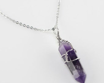 "Natural Genuine Amethyst Chakra Point Wire Wrapped Sterling Silver Necklace - 18"" sterling silver chain - Natural Stone Necklace - Chakra"