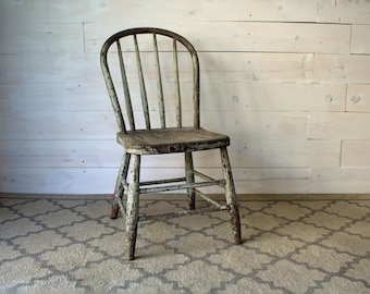 Primitive Spindle Chair, Chippy Mint Dining Chair, Bentwood Side Chair, Green Rustic Wood Chair, Chippy Green Cafe Chair, Wood Dining Chair