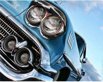 1950s Classic Car Wall Art Photography — Blue Chevy Impala Photo — '58 Chevrolet Impala — Vintage Car Photos by Liberty Images — Silver