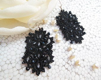 Black earrings with hematite crystal beads, tatted jewelry, lace earrings, gift for her, vintage style jewelry, black, gothic  style jewelry