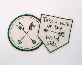 Embroidered Adventure Patches/Take a Walk on the Wild Side/Camping Patch/Kids Patches/Arrow Design/Sew On/Iron on