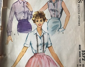 Vintage 50s McCall's 5572 Blouse Pattern-Size 12 (32 Bust)