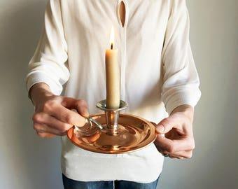 Vintage Candlestick Holder/Copper Candleholder/Flemish Copper and Silver Candleholder/Drip Tray/Handled Candlestick Holder/BP Co Canada