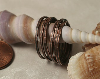 Hand hammered antique copper midi ring, knuckle ring, stack rings, 2 pcs (item ID ACSR)