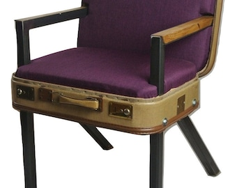 Mini suitcase armchair ochre/lilac