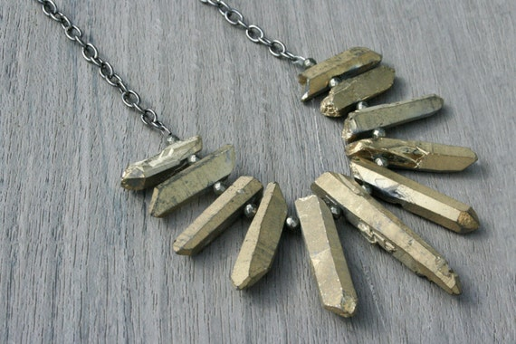 Dusty Gold Quartz, Pyrite and Gunmetal Statement Necklace // Gifts for Her