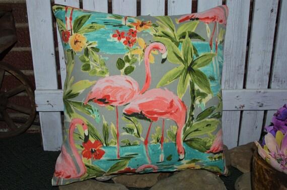 Flamingo Pillow Cover . Indoor / Outdoor Fabric . Zipper