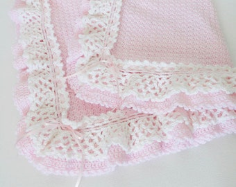 Crochet Baby Afghan Blanket With Lacy Ruffles In Pink & White, Baby Shower Gift, Nursery Decor, Baby Girl Blanket, Crib Bedding