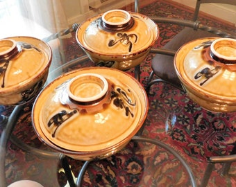 Donabe clay pot and lid Japan earthenware hot pot casserole set of four