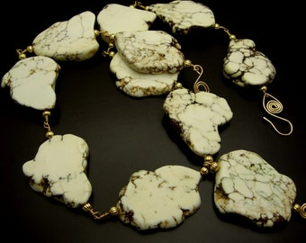 STONE MOUNTAIN ~ Bold  White Turquoise, 14kt Gold Fill Necklace