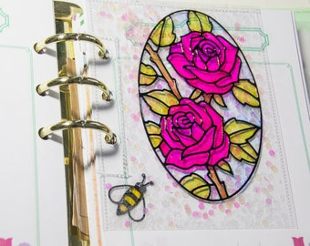 Planner Shaker Dashboard: Rose Stained Glass Window | Personal + A5 Planners / Binders | Recollections Planner Accessory | Planner Bookmark