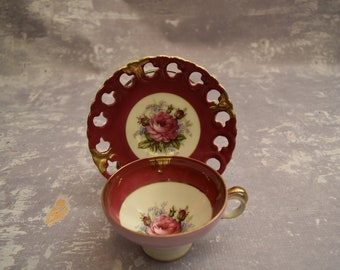 Japanese Rose Cup and Saucer with Scalloped Edge