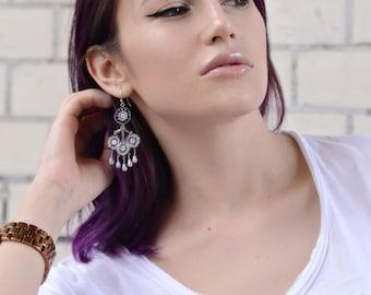 Purple Chandelier Earrings / Beaded Earrings / Handmade Earrings /Dangling Earrings / Burple-and Lilca Earrings / Oriental Earrings