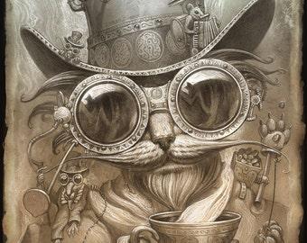 Steampunk Cat // 8 X 10 PRINT // Madhatter Cat print // Victorian Cat print // Steampunk Victorian Cat Decor // Steampunk art