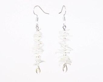 Dangle earrings, silver white BOUQUET range