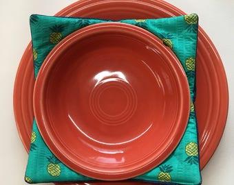 Denim Plus Pineapple Print Bowl Cozy Set of 2