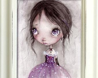 Postcard,art print or a woodblock..from my original artwork,fine art print on cooton paper,goth fairy girls