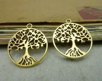 20 Tree of Life Charms Antique Gold Tone 2 Sided Just Lovely - WS8027