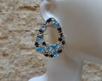 Blue Sapphire, Apatite and Blue Topaz earrings in Sterling Silver
